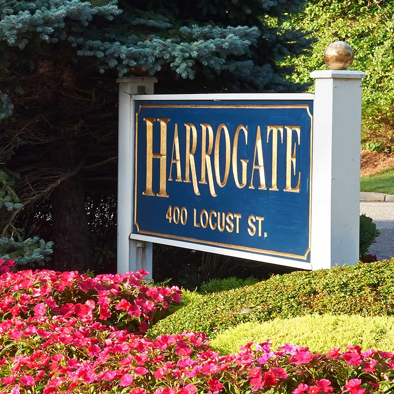 harrogate sign with address outside location with shrubs and flowers